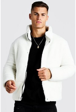 Borg MAN Embroidered Puffer Coat, Off white, Uomo