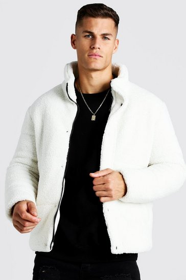 Mens Off white Borg MAN Embroidered Puffer Coat