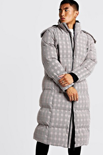 Mens Taupe Check Duvet Puffer