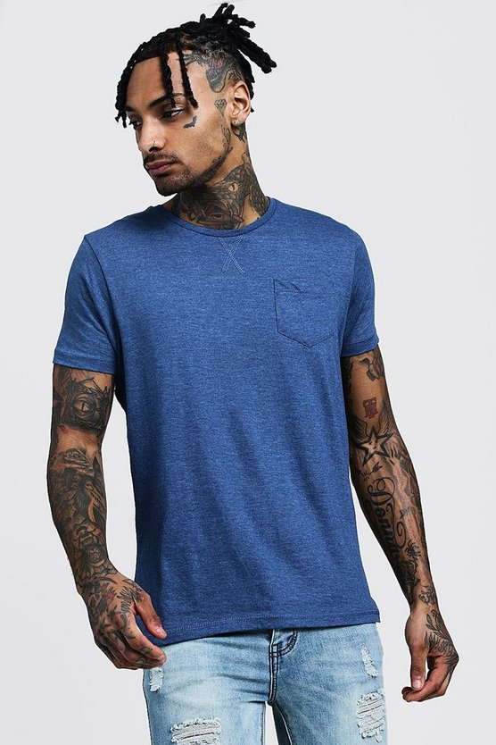 Mens Blue Crew Neck Marl T-Shirt With Pocket