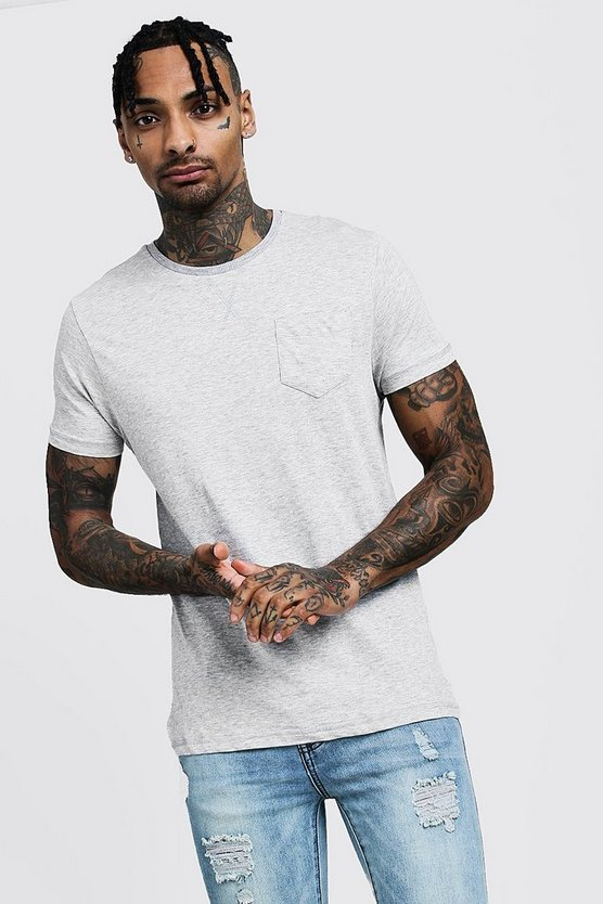 Mens Grey marl Crew Neck Marl T-Shirt With Pocket