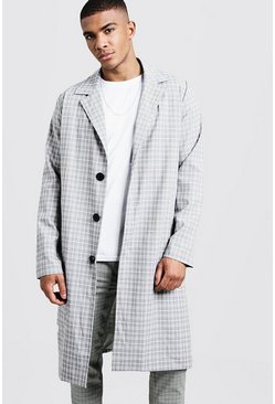 Oversized Check Overcoat, Grey, Uomo