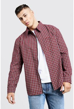 Oversized Check Harrington, Red, Uomo