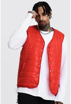 Popper Front Sleeveless Padded Gilet, Orange, Uomo
