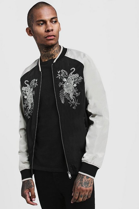 Mens Stone Embroidered Contrast Bomber Jacket