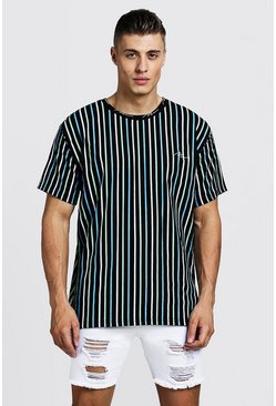Mens Multi Loose Fit MAN Signature Stripe T-Shirt