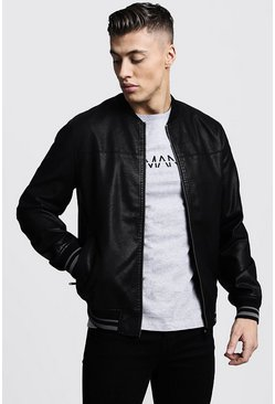 Mens Black Faux Leather Bomber Jacket