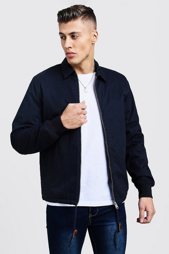 Navy Quilted Check Lined Coach Jacket
