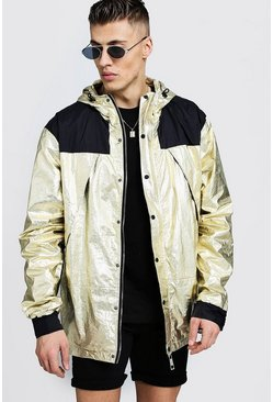 Metallic Hooded Windbreaker, Gold, Uomo