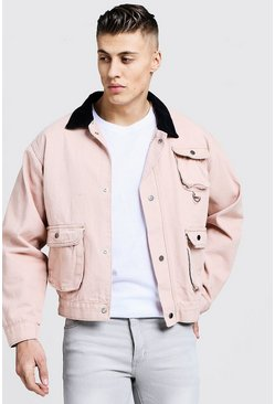 Mens Dusky pink Utility Pocket Denim Jacket With Cord Collar