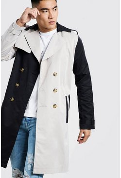 Contrast Double Breasted Trench, Multi, Uomo