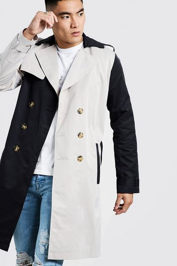Mens Multi Contrast Double Breasted Trench