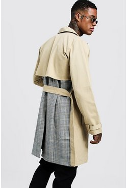 Check Contrast Double Breasted Trench, Camel, HOMBRE