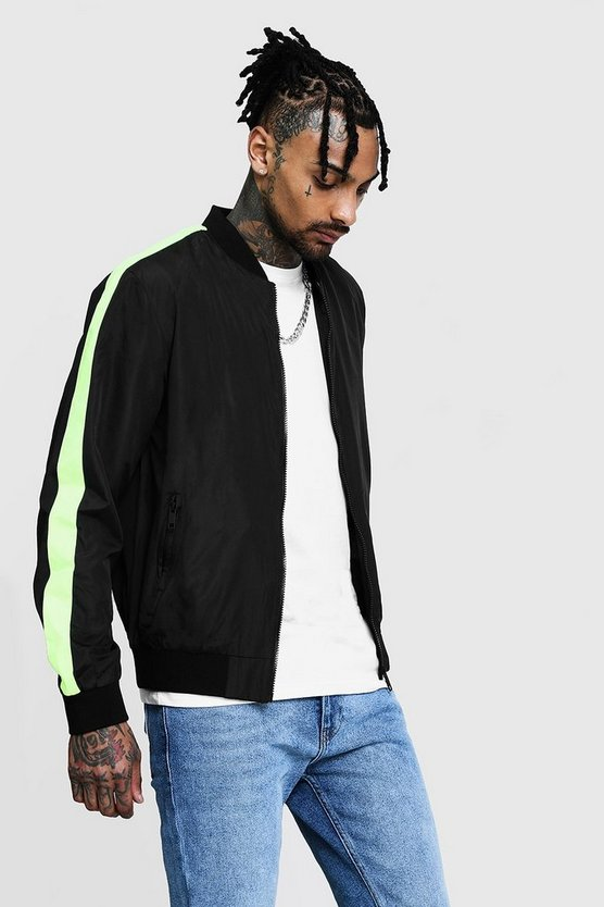 Black Neon Side Tape Bomber Jacket