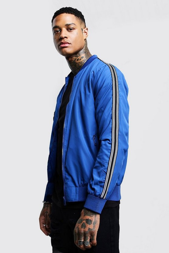 Cobalt Bomber Jacket With Arm Tape