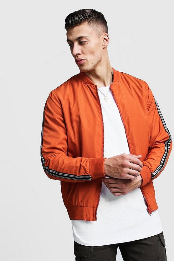 Mens Orange Bomber Jacket With Arm Tape