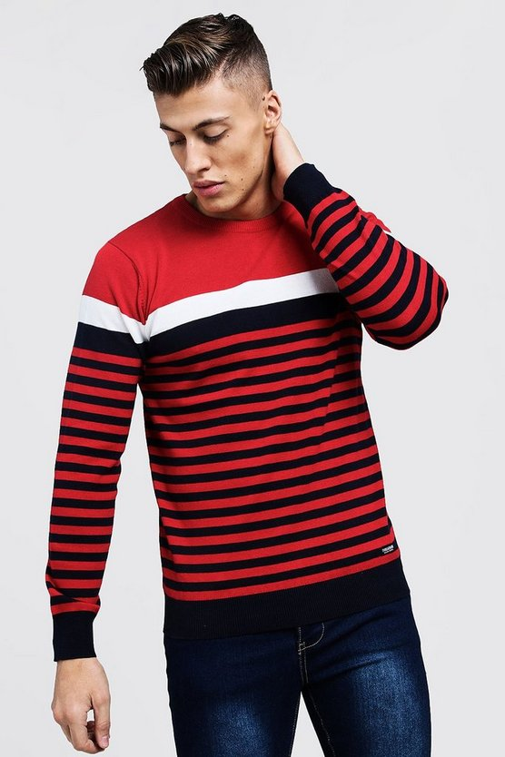 Contrast Stripe Knitted Jumper, МУЖСКОЕ