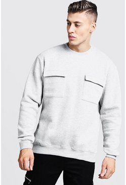 Mens Grey Loose Fit Utility Pocket Sweater