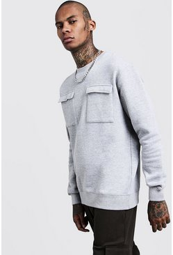 Loose Fit Utility Pocket Sweater, Urban chic, МУЖСКОЕ