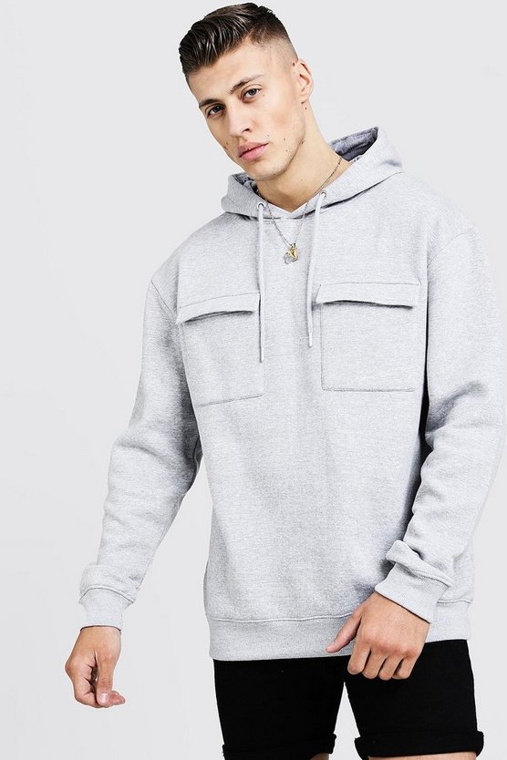Loose Fit Utility Over The Head Hoody, Grey, HOMBRE