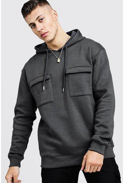 Mens Urban chic Loose Fit Utility Over The Head Hoody