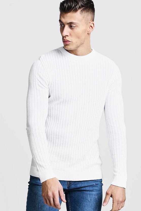 Ecru Long Sleeved Muscle Fit Ribbed Crew Neck Jumper
