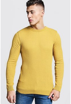 Mens Mustard Long Sleeved Muscle Fit Ribbed Crew Neck Sweater