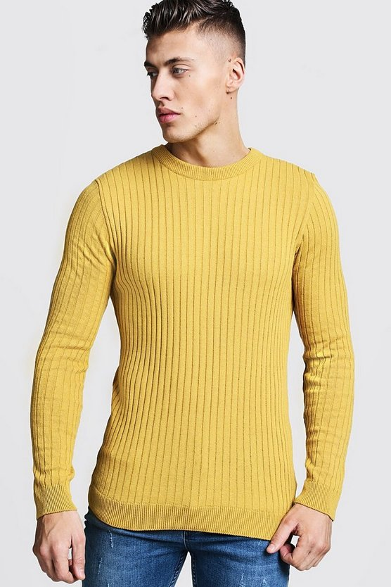 Long Sleeved Muscle Fit Ribbed Crew Neck Jumper, Mustard, МУЖСКОЕ