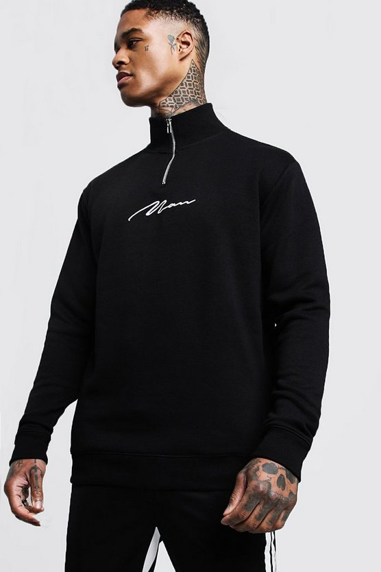 Man Signature Funnel 3/4 Neck Zip Sweat, Black, МУЖСКОЕ
