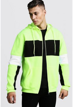 Regular Jersey Colour Block Zip Through Hoodie, Yellow, HERREN