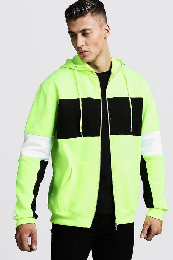 Mens Yellow Regular Jersey Colour Block Zip Through Hoodie