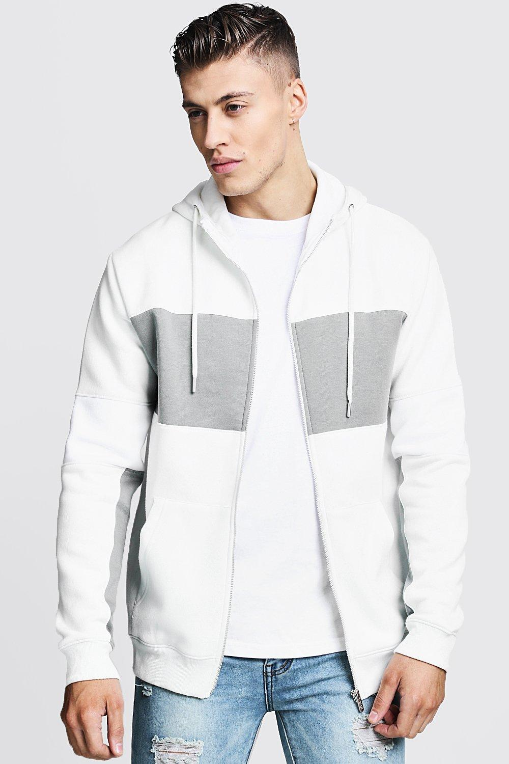 Regular Jersey Colour Block Zip Through Hoodie