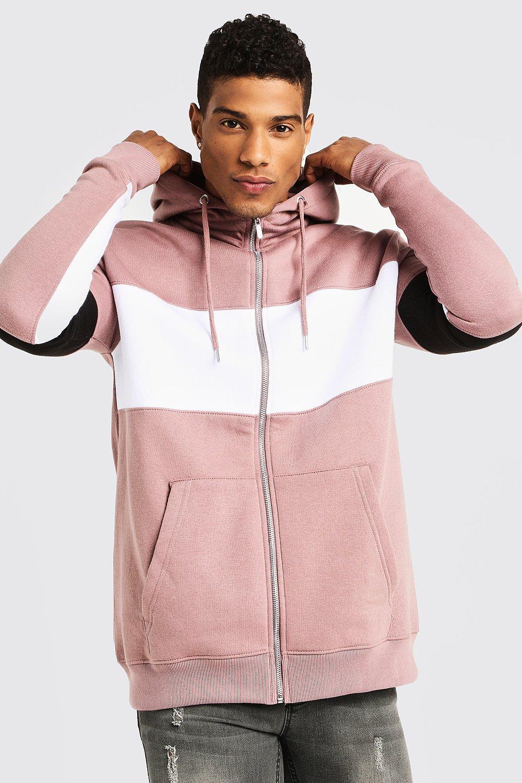 Regular Jersey Colour Block Zip Through Hoodie