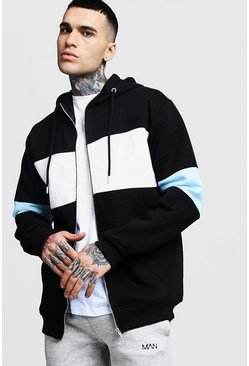 Regular Jersey Colour Block Zip Through Hoodie, Black, HOMBRE