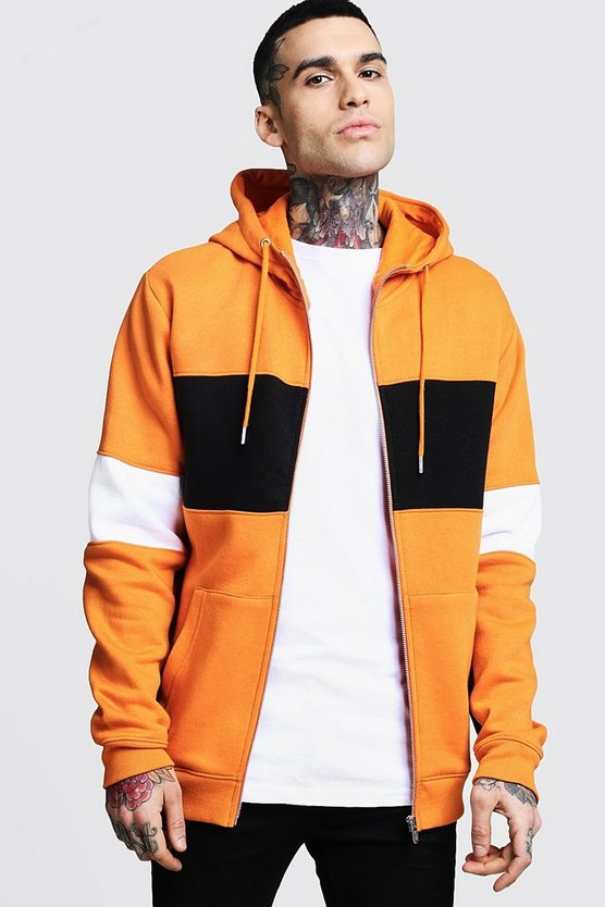 Orange Regular Jersey Colour Block Zip Through Hoodie