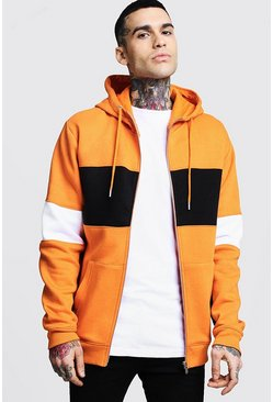 Regular Jersey Colour Block Zip Through Hoodie, Orange, Uomo