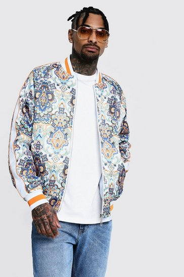 Mens Multi Printed Sateen Bomber With Piping