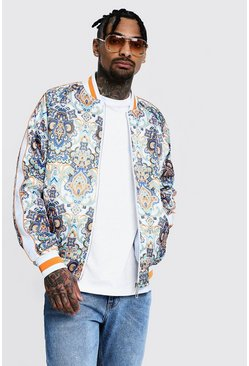 Printed Sateen Bomber With Piping, Multi, Uomo