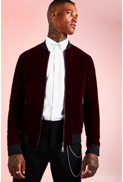 Oxblood Velour Bomber