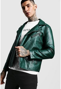 Mens Forest Faux Leather Biker Jacket