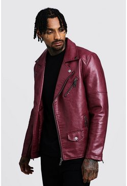 Faux Leather Biker Jacket, Oxblood, Uomo