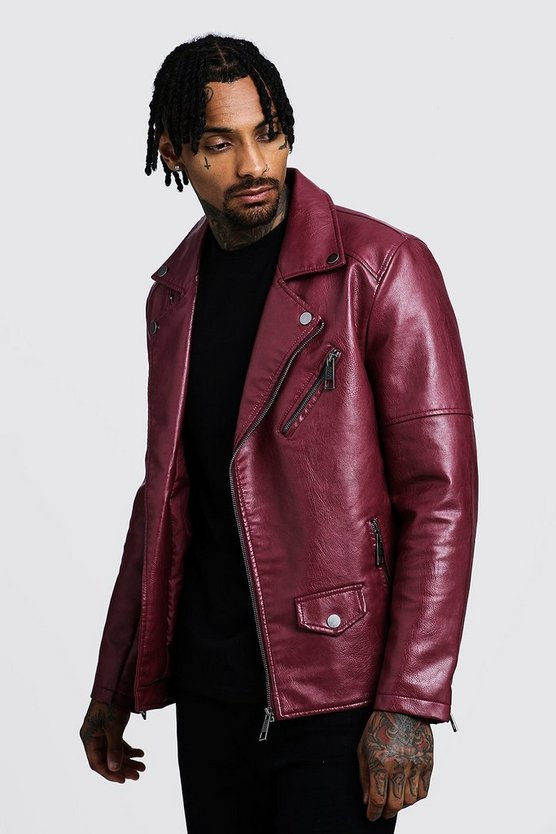 Faux Leather Biker Jacket, Oxblood, HERREN