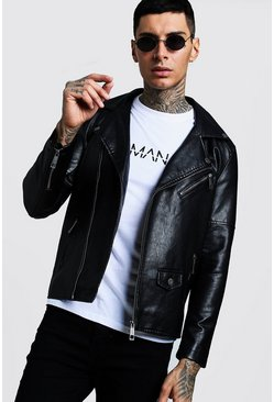 Faux Leather Biker Jacket, Black, Homme