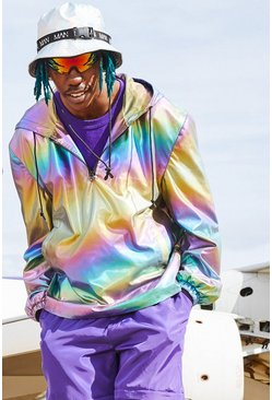 Iridescent Half Zip Hooded Cagoule, Uomo