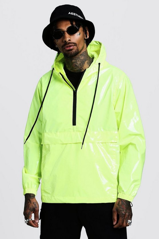 Mens Neon High Shine Overhead Half Zip Cagoule