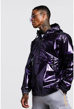 Mens Purple High Shine Overhead Half Zip Cagoule