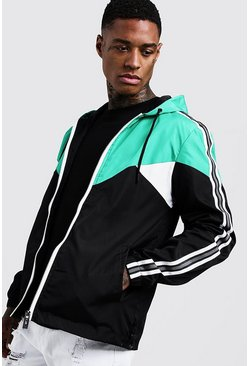Colour Block Cagoule With Side Tape, Green, HOMMES