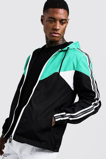 Mens Green Colour Block Cagoule With Side Tape