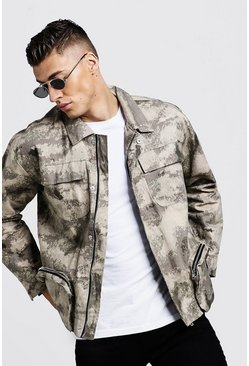 Blurred Camo Utility Field Jacket, Sand, HOMMES