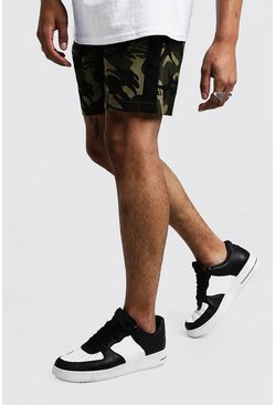 Camo Shorts With Side Tape, Khaki, Uomo